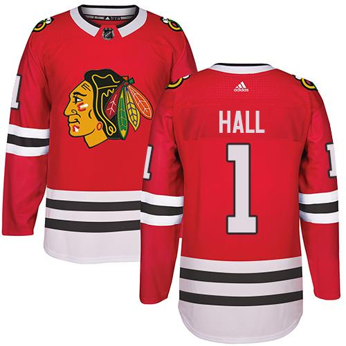 Adidas Chicago Blackhawks #1 Glenn Hall Red Home Authentic Stitched NHL Jersey