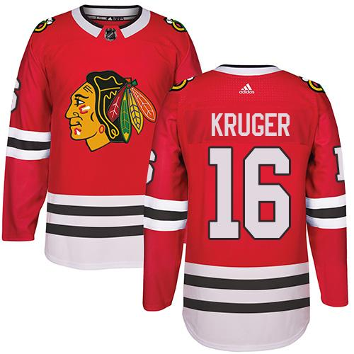 Adidas Chicago Blackhawks #16 Marcus Kruger Red Home Authentic Stitched NHL Jersey