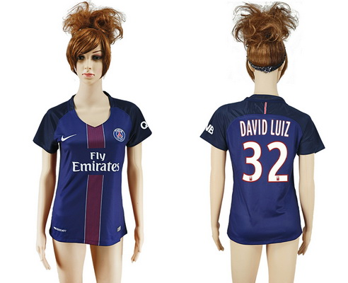 2016-17 Paris Saint-Germain #32 DAVID LUIZ Home Soccer Women's Navy Blue AAA+ Shirt
