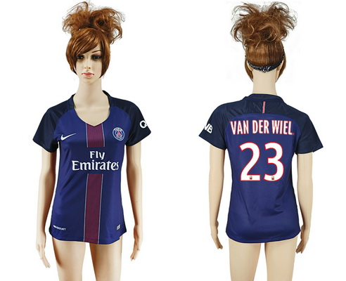 2016-17 Paris Saint-Germain #23 VAN DER WIEL Home Soccer Women's Navy Blue AAA+ Shirt