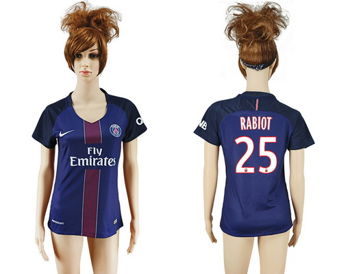 2016-17 Paris Saint-Germain #25 RABIOT Home Soccer Women's Navy Blue AAA+ Shirt