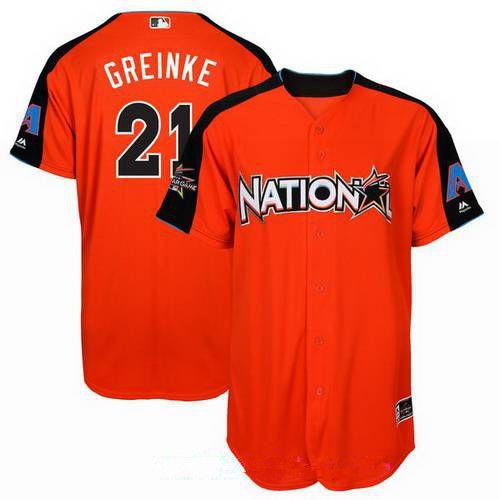 Men's National League Arizona Diamondbacks #21 Zack Greinke Majestic Orange 2017 MLB All-Star Game Home Run Derby Player Jersey