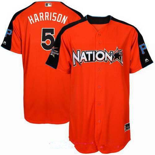 Men's National League Pittsburgh Pirates #5 Josh Harrison Majestic Orange 2017 MLB All-Star Game Home Run Derby Player Jersey