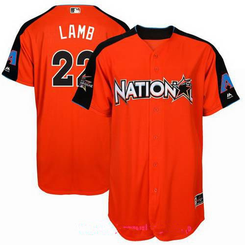Men's National League Arizona Diamondbacks #22 Jake Lamb Majestic Orange 2017 MLB All-Star Game Home Run Derby Player Jersey