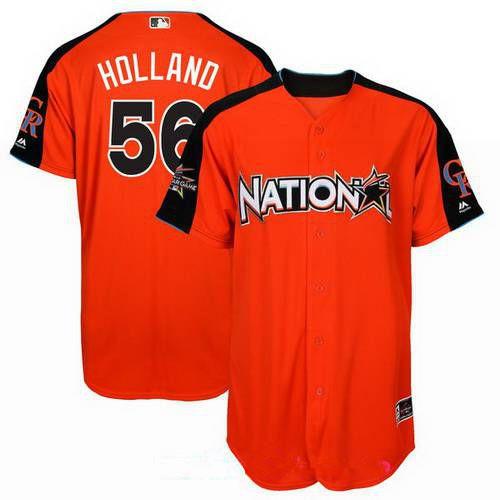 Men's National League Kansas City Royals #56 Greg Holland Majestic Orange 2017 MLB All-Star Game Home Run Derby Player Jersey