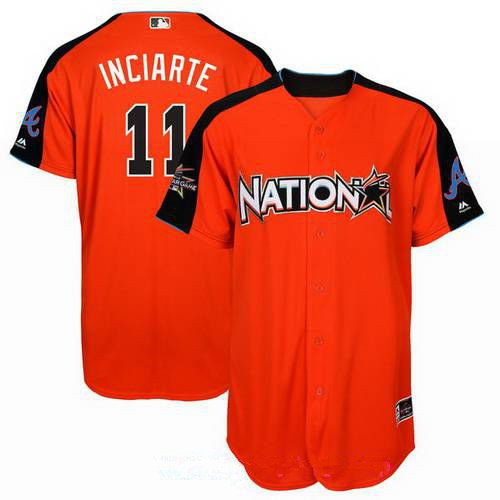 Men's National League Atlanta Braves #11 Ender Inciarte Majestic Orange 2017 MLB All-Star Game Home Run Derby Player Jersey