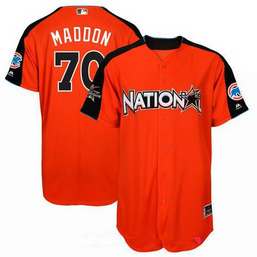 Men's National League Chicago Cubs #70 Joe Maddon Majestic Orange 2017 MLB All-Star Game Home Run Derby Player Jersey