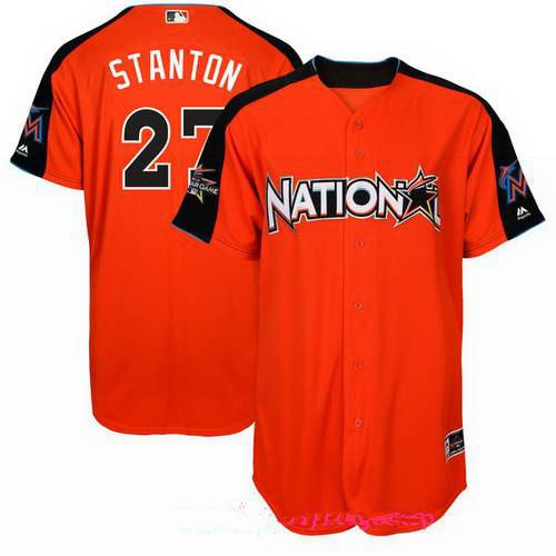 Men's National League Miami Marlins #27 Giancarlo Stanton Majestic Orange 2017 MLB All-Star Game Authentic Home Run Derby Jersey