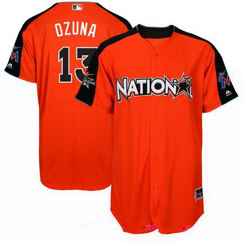 Men's National League Miami Marlins #13 Marcell Ozuna Majestic Orange 2017 MLB All-Star Game Authentic Home Run Derby Jersey