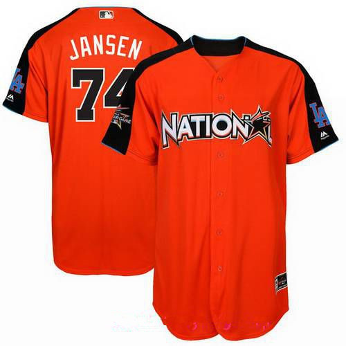 Men's National League Los Angeles Dodgers #74 Kenley Jansen Majestic Orange 2017 MLB All-Star Game Home Run Derby Player Jersey