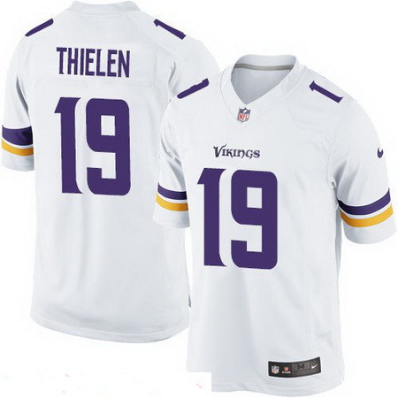 Youth Minnesota Vikings #19 Adam Thielen White Road Stitched NFL Nike Game Jersey