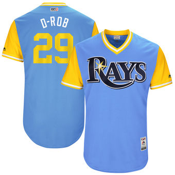 Men's Tampa Bay Rays Daniel Robertson D-Rob Majestic Light Blue 2017 Players Weekend Authentic Jersey