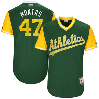 Men's Oakland Athletics Frankie Montas Montas Majestic Green 2017 Players Weekend Authentic Jersey