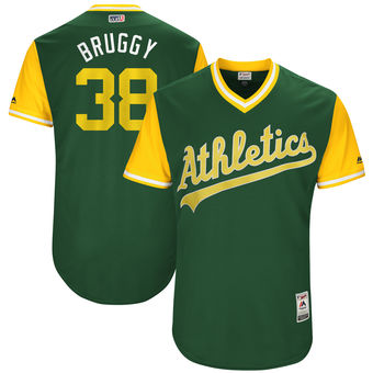 Men's Oakland Athletics Jaycob Brugman Bruggy Majestic Green 2017 Players Weekend Authentic Jersey