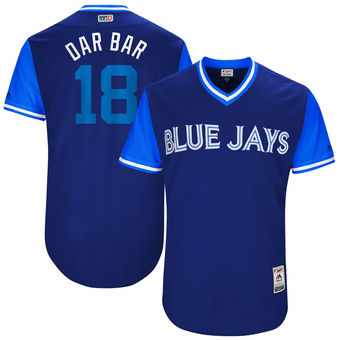 Men's Toronto Blue Jays Darwin Barney Dar Bar Majestic Royal 2017 Players Weekend Authentic Jersey