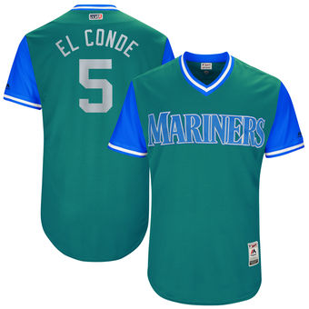 Men's Seattle Mariners Guillermo Heredia El Conde Majestic Aqua 2017 Players Weekend Authentic Jersey