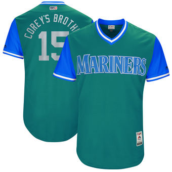 Men's Seattle Mariners Kyle Seager Corey's Brother Majestic Aqua 2017 Players Weekend Authentic Jersey