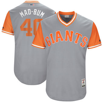 Men's San Francisco Giants Madison Bumgarner Mad-Bum Majestic Gray 2017 Players Weekend Authentic Jersey