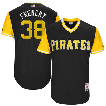 Men's Pittsburgh Pirates Wade LeBlanc Frenchy Majestic Black 2017 Players Weekend Authentic Jersey