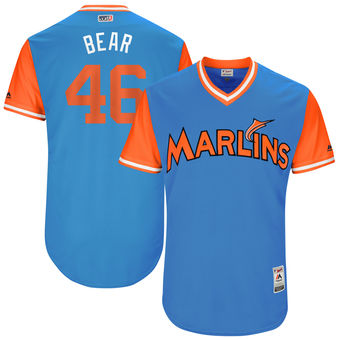 Men's Miami Marlins Kyle Barraclough Bear Majestic Blue 2017 Players Weekend Authentic Jersey