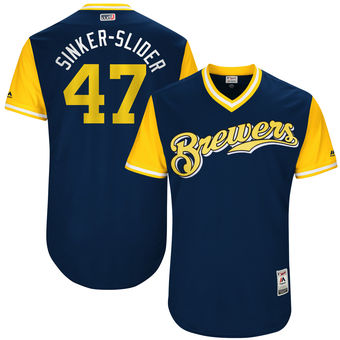 Men's Milwaukee Brewers Jett Bandy Sinker-Slider Majestic Navy 2017 Players Weekend Authentic Jersey