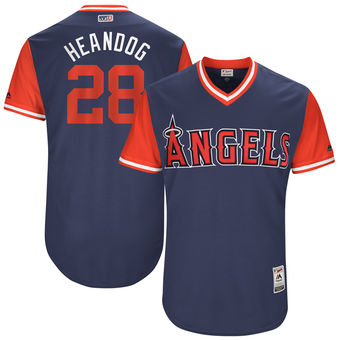 Men's Los Angeles Angels Andrew Heaney Heandog Majestic Navy 2017 Players Weekend Authentic Jersey