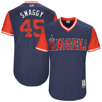 Men's Los Angeles Angels Tyler Skaggs Swaggy Majestic Navy 2017 Players Weekend Authentic Jersey