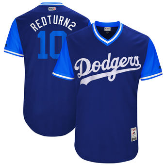Men's Los Angeles Dodgers Justin Turner Redturn2 Majestic Royal 2017 Players Weekend Authentic Jersey