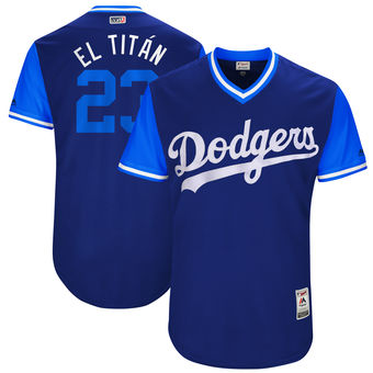 Men's Los Angeles Dodgers Adrian Gonzalez El Titán Majestic Royal 2017 Players Weekend Authentic Jersey