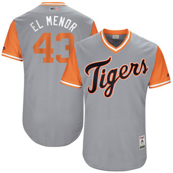 Men's Detroit Tigers Bruce Rondon El Menor Majestic Gray 2017 Players Weekend Authentic Jersey