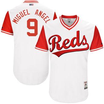 Men's Cincinnati Reds Jose Peraza Miguel Angel Majestic White 2017 Players Weekend Authentic Jersey