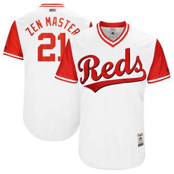 Men's Cincinnati Reds Michael Lorenzen Zen Master Majestic White 2017 Players Weekend Authentic Jersey