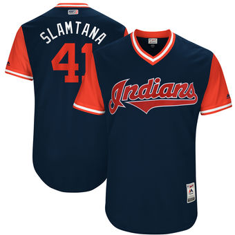 Men's Cleveland Indians Carlos Santana Slamtana Majestic Navy 2017 Players Weekend Authentic Jersey