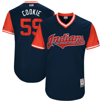 Men's Cleveland Indians Carlos Carrasco Cookie Majestic Navy 2017 Players Weekend Authentic Jersey