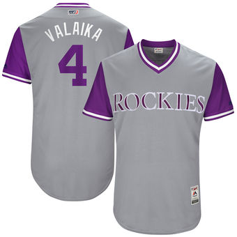 Men's Colorado Rockies Pat Valaika Valaika Majestic Gray 2017 Players Weekend Authentic Jersey