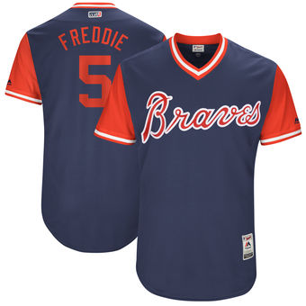 Men's Atlanta Braves Freddie Freeman Freddie Majestic Navy 2017 Players Weekend Authentic Jersey