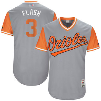 Men's Baltimore Orioles Ryan Flaherty Flash Majestic Gray 2017 Players Weekend Authentic Jersey
