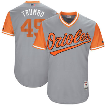 Men's Baltimore Orioles Mark Trumbo Trumbo Majestic Gray 2017 Players Weekend Authentic Jersey