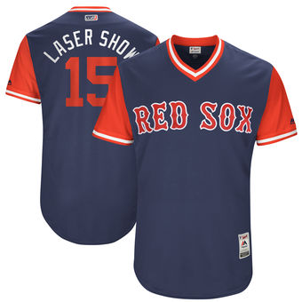 Men's Boston Red Sox Dustin Pedroia Laser Show Majestic Navy 2017 Players Weekend Authentic Jersey