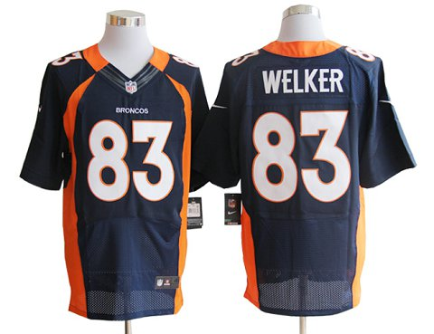 Size 60 4XL-Welker Denver Broncos #83 Blue Stitched Nike Elite NFL Jerseys