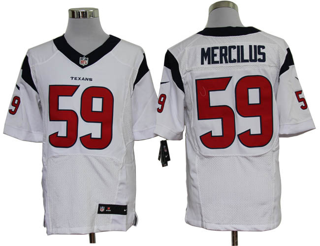 Size 60 4XL-Whitney Mercilus Houston Texans #59 White Stitched Nike Elite NFL Jerseys