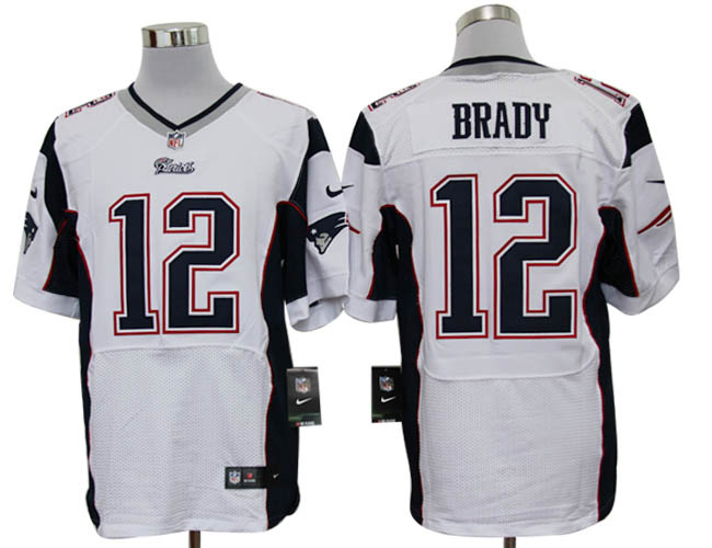 Size 60 4XL-Tom Brady New England Patriots #12 White Stitched Nike Elite NFL Jerseys
