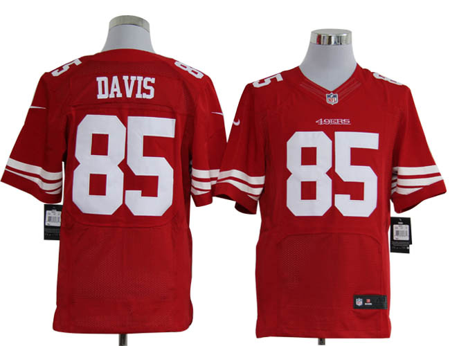 Size 60 4XL-Vernon Davis San Francisco 49ers #85 Red Stitched Nike Elite NFL Jerseys