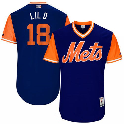 Men's New York Mets Travis d'Arnaud Lil D Majestic Royal 2017 Little League World Series Players Weekend Stitched Nickname Jersey