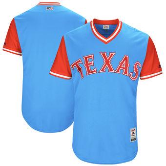 Custom Men's Texas Rangers Majestic Light Blue 2017 Players Weekend Authentic Team Jersey