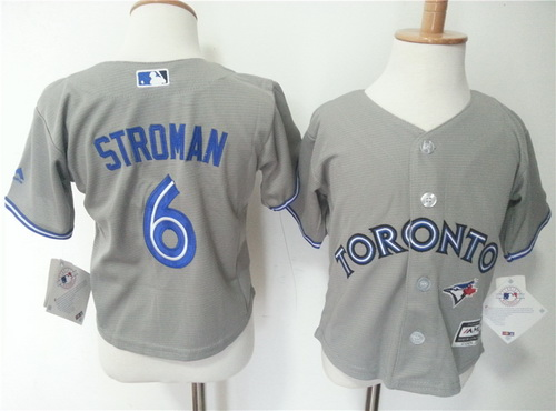 Toddler Toronto Blue Jays #6 Marcus Stroman Gray Road MLB Majestic Baseball Jersey