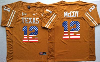 Men's Texas Longhorns 12 Colt McCoy Orange USA Flag College Jersey