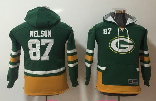 Youth Green Bay Packers #87 Jordy Nelson NEW Green Pocket Stitched NFL Pullover Hoodie