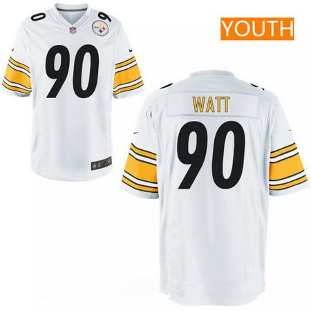 Youth 2017 NFL Draft Pittsburgh Steelers #90 T. J. Watt White Road Stitched NFL Nike Game Jersey