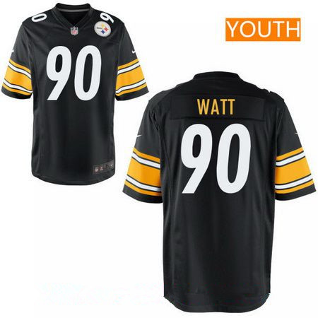 Youth 2017 NFL Draft Pittsburgh Steelers #90 T. J. Watt Black Team Color Stitched NFL Nike Game Jersey